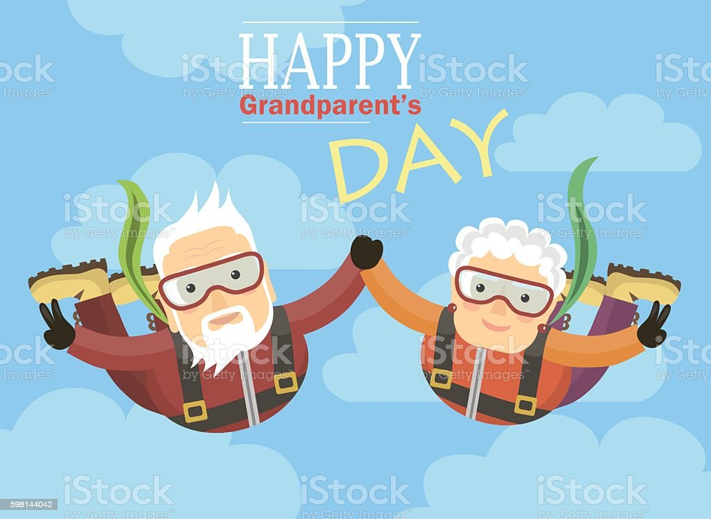 grandparents jump with a parachute and holding hands vector art illustration