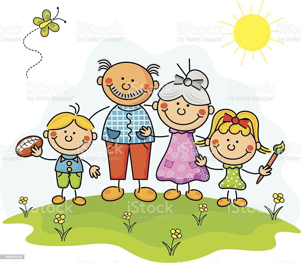 Grandparents Kids vector art illustration