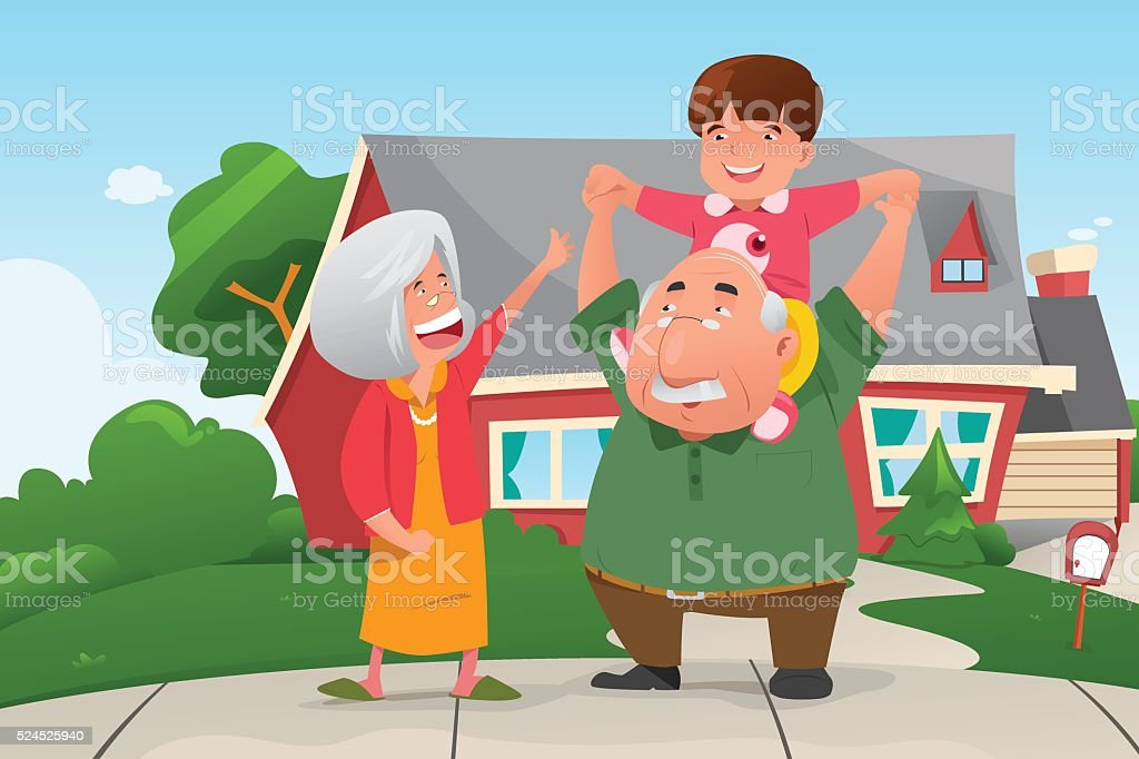 Grandparents Playing with their Grandson vector art illustration