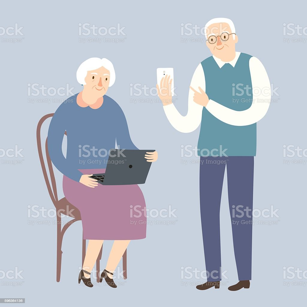 Grandparents using internet vector art illustration