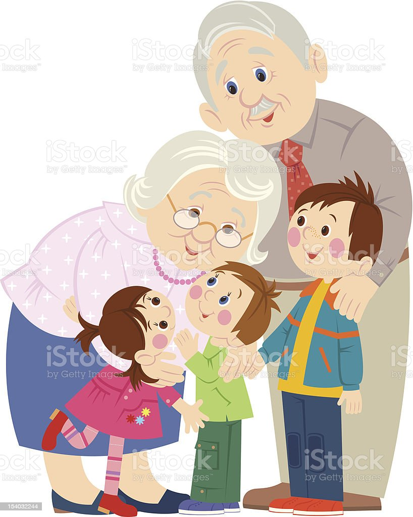 Grandparents vector art illustration