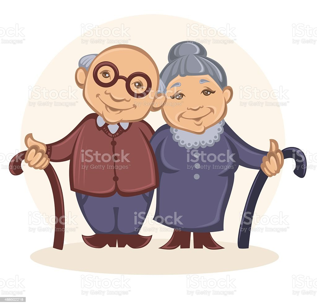 grandparents, vector image of happy old people in cartoon style vector art illustration