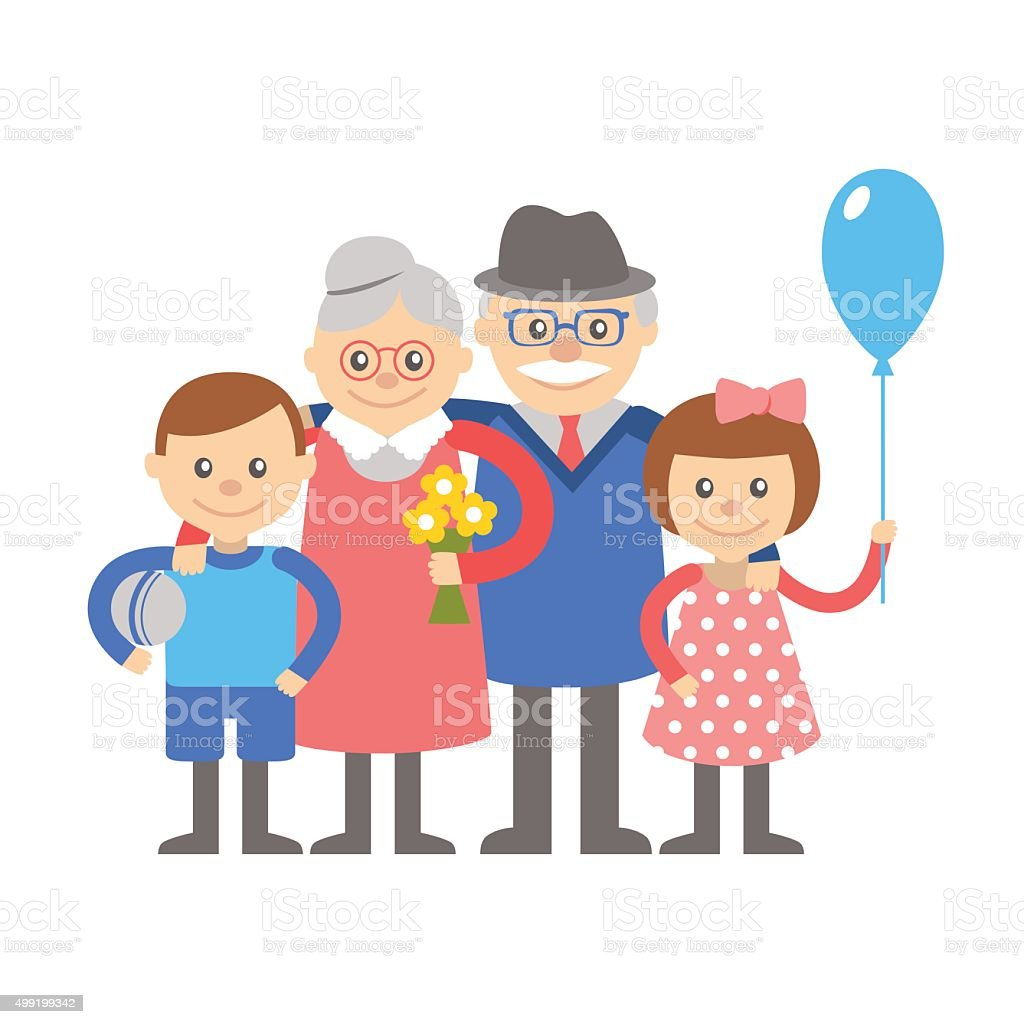 Grandparents with grandchildren. Illustration on white background. vector art illustration