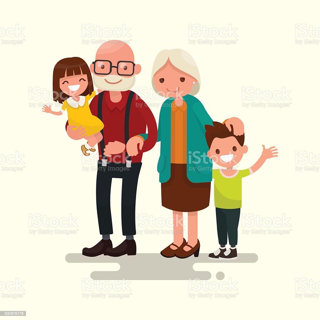 Grandparents with their grandchildren. Vector illustration vector art illustration