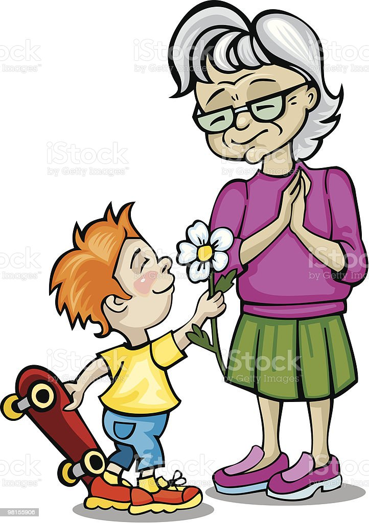Grandson is giving a flower to his grandma royalty-free stock vector art