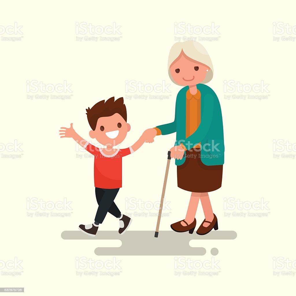 Grandson walking with his grandmother. Vector illustration vector art illustration