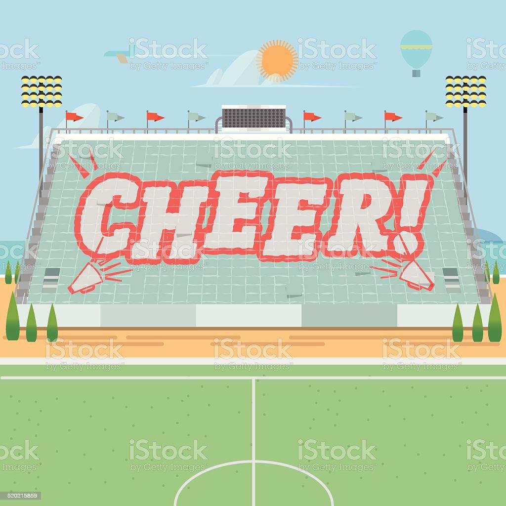 grandstand card stunts. cheer - vector illustration vector art illustration