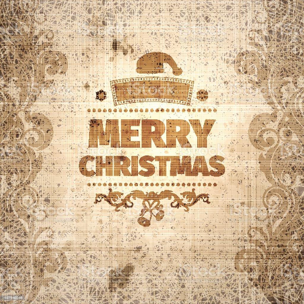 Grange wrinkled scratched old-looking Christmas card vector art illustration
