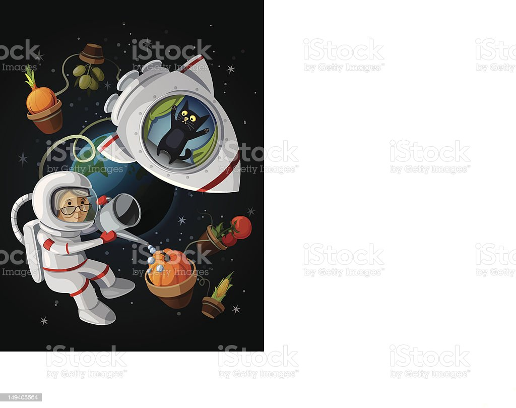 Granny astranaut watering vegetables in the open space. royalty-free stock vector art