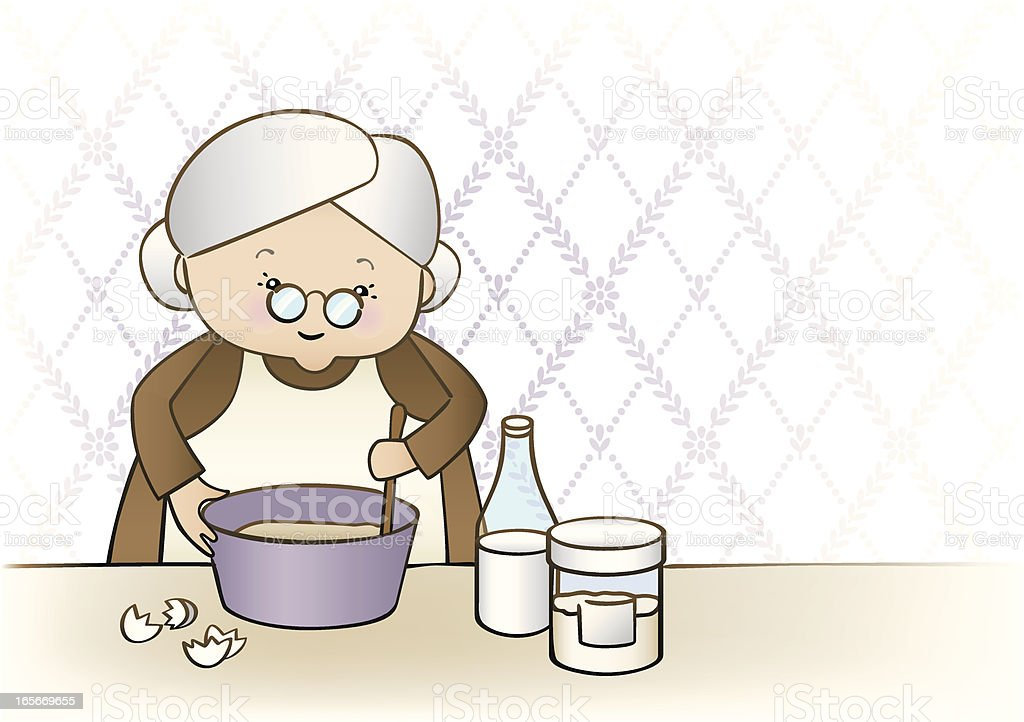 Granny Baking vector art illustration