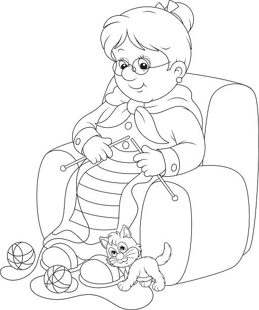 Knitting Granny Clipart : Domestic cat women grandmother knitting clip art vector