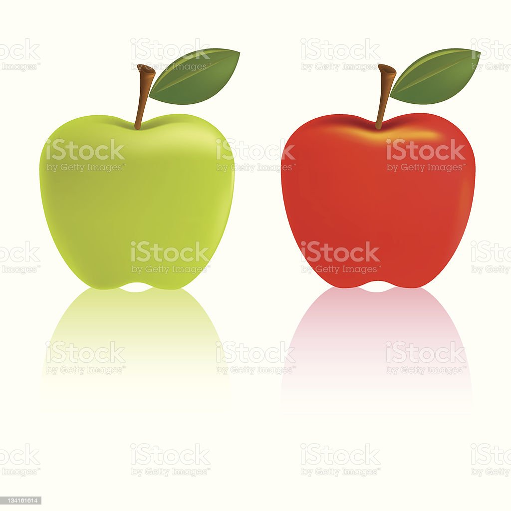 Granny Smith and red delicious apples with green leaves vector art illustration