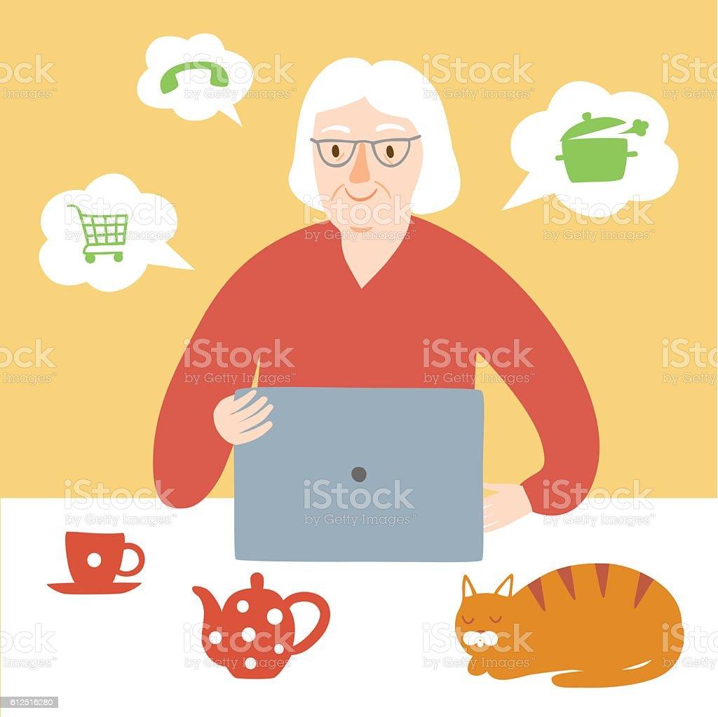 Granny using internet vector art illustration