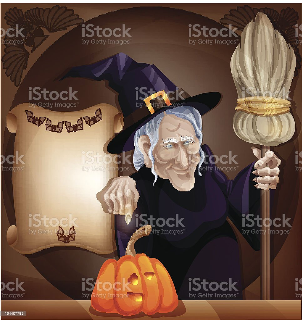 Granny witch placard royalty-free stock vector art