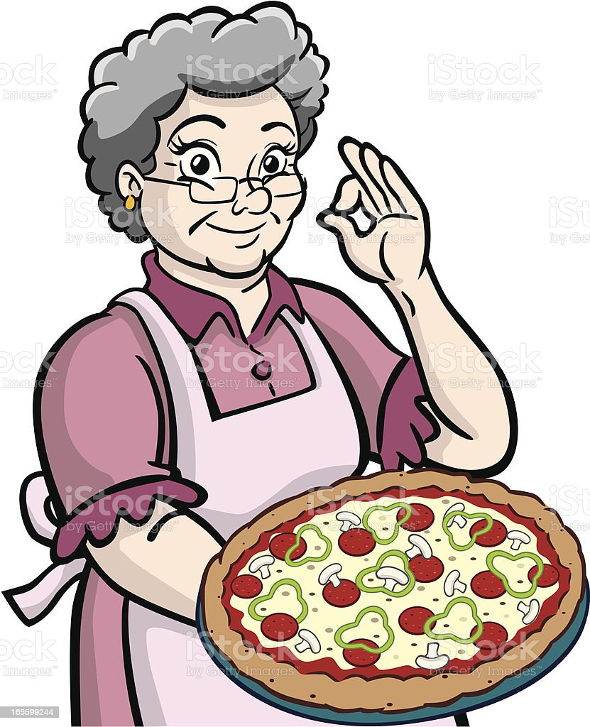 Granny With Pizza vector art illustration
