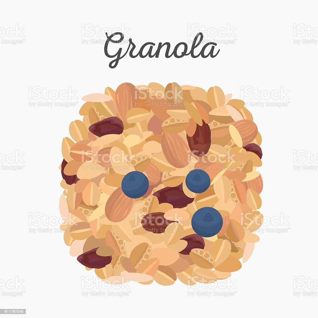 Granola isolated. vector art illustration