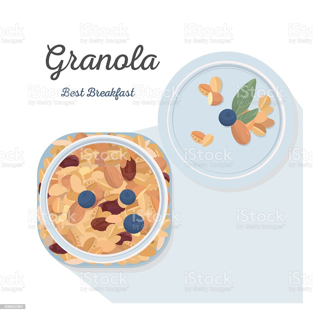 Granola vector art illustration