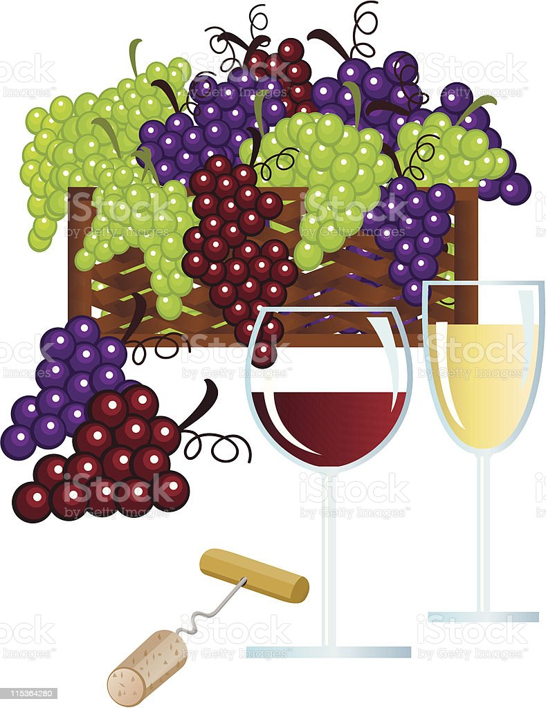 Grape Basket and Wine royalty-free stock vector art