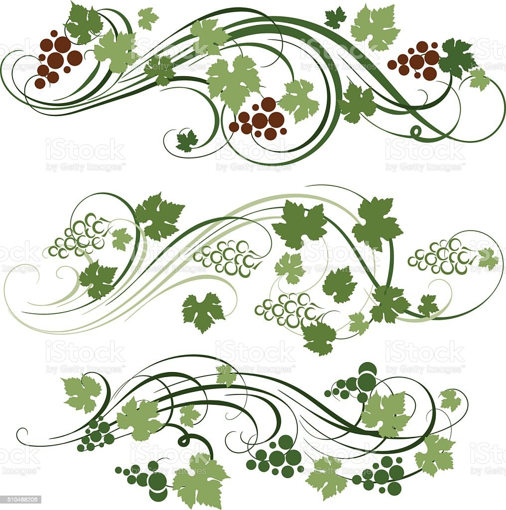 grape ornament vector art illustration