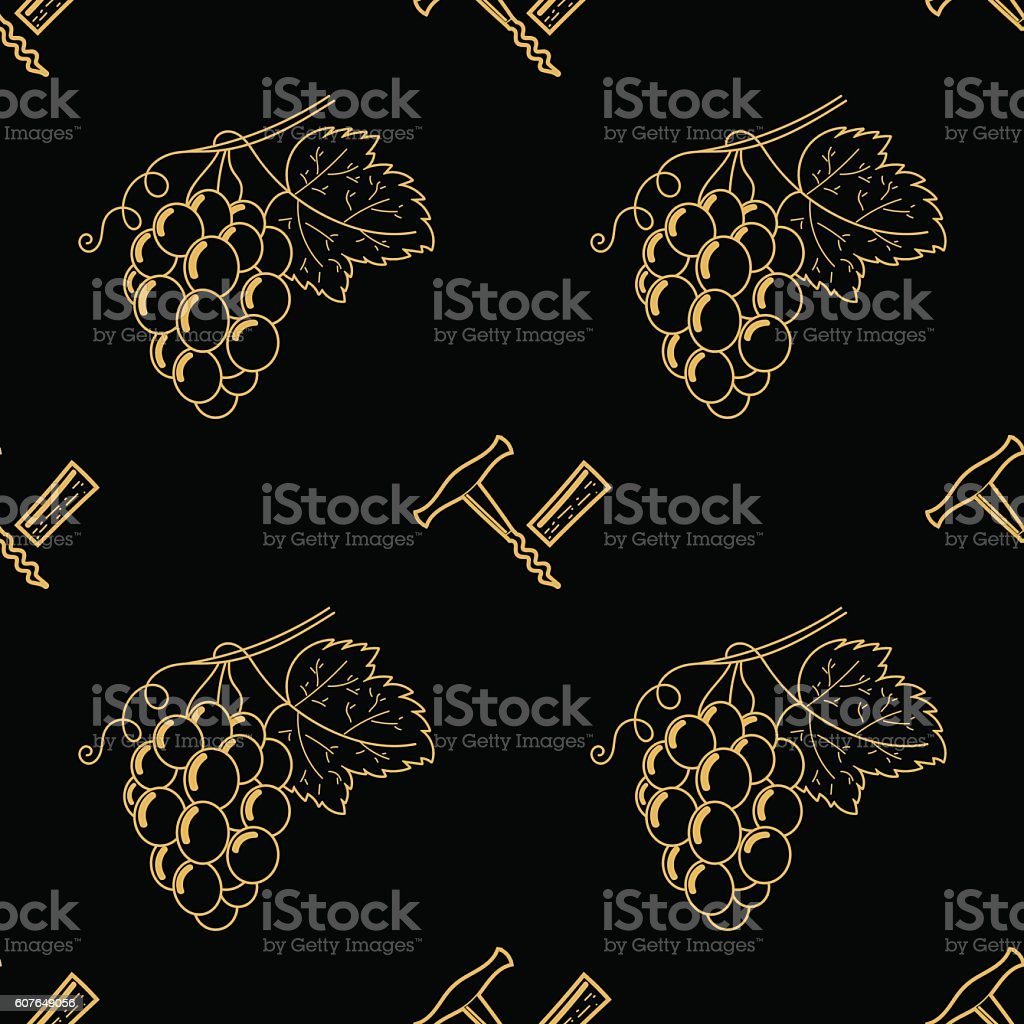 Grape pattern gold and black. Wine pattern vector art illustration