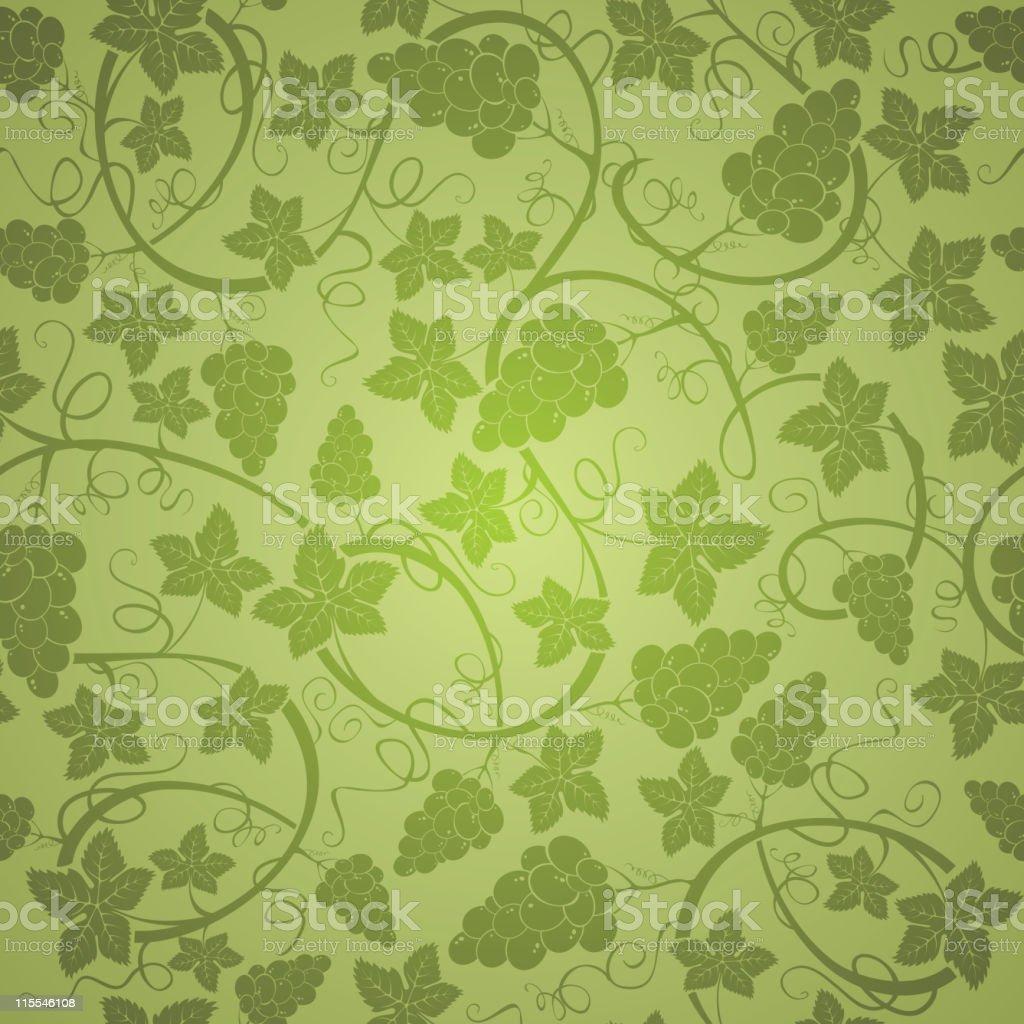 Grape vine pattern in dark green on light green background royalty-free stock vector art