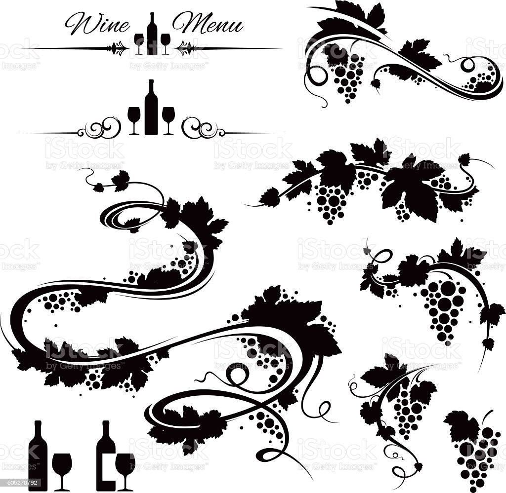 Grape vines and wine icons vector art illustration