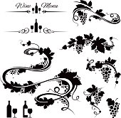 Grape vines and wine icons