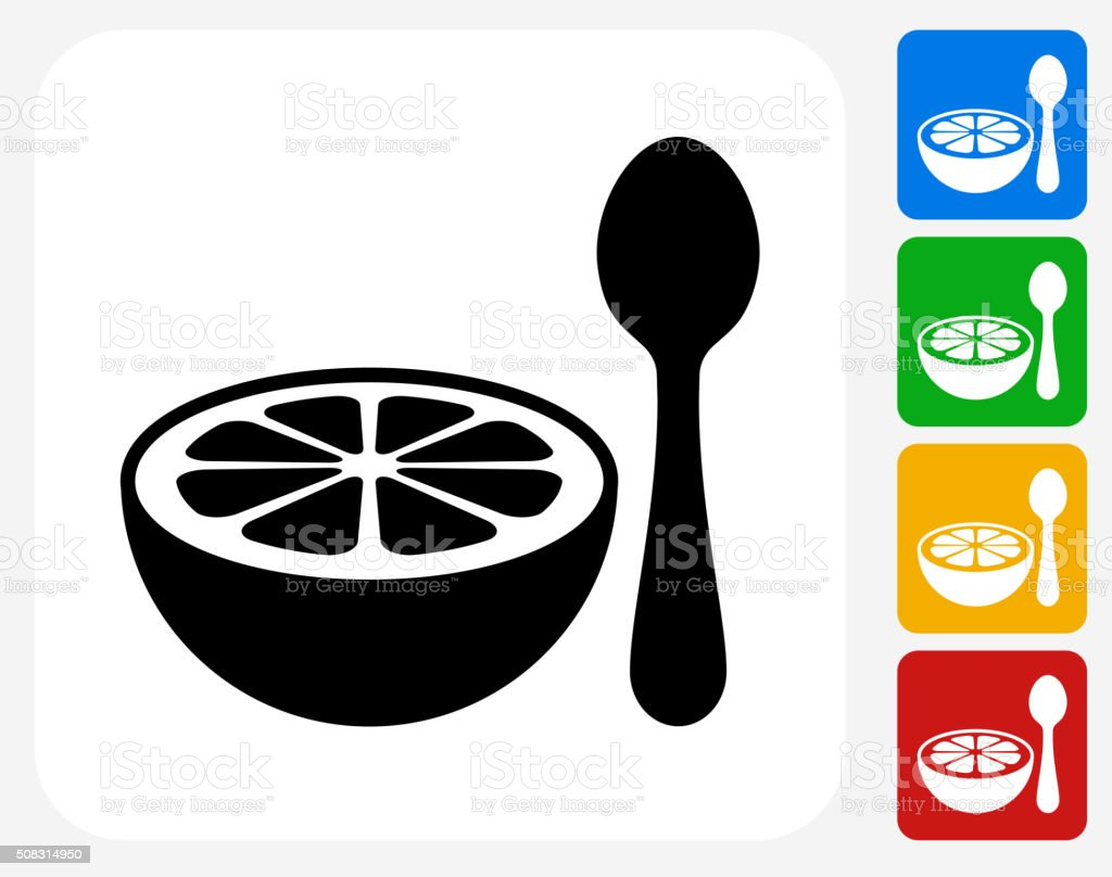 Grapefruit and Spoon Icon Flat Graphic Design vector art illustration