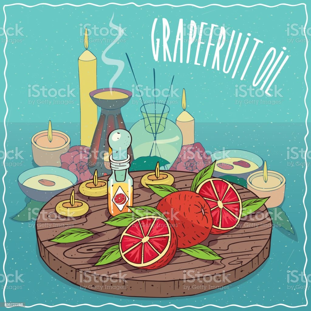 Grapefruit oil used for aromatherapy vector art illustration