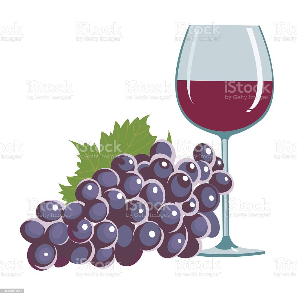 grapes and a wine glass royalty-free stock vector art