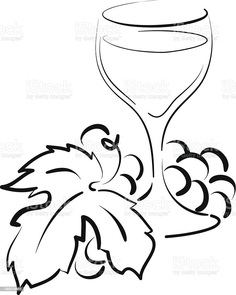 grapes and glass royalty-free stock vector art