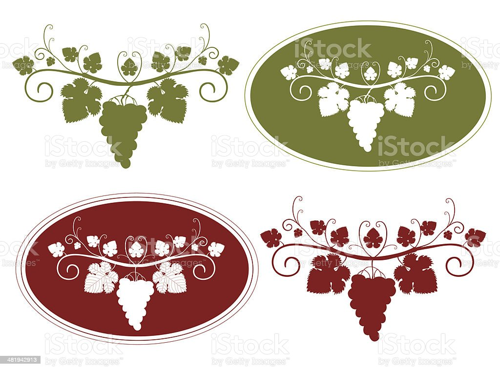 Grapes and Grape Labels royalty-free stock vector art