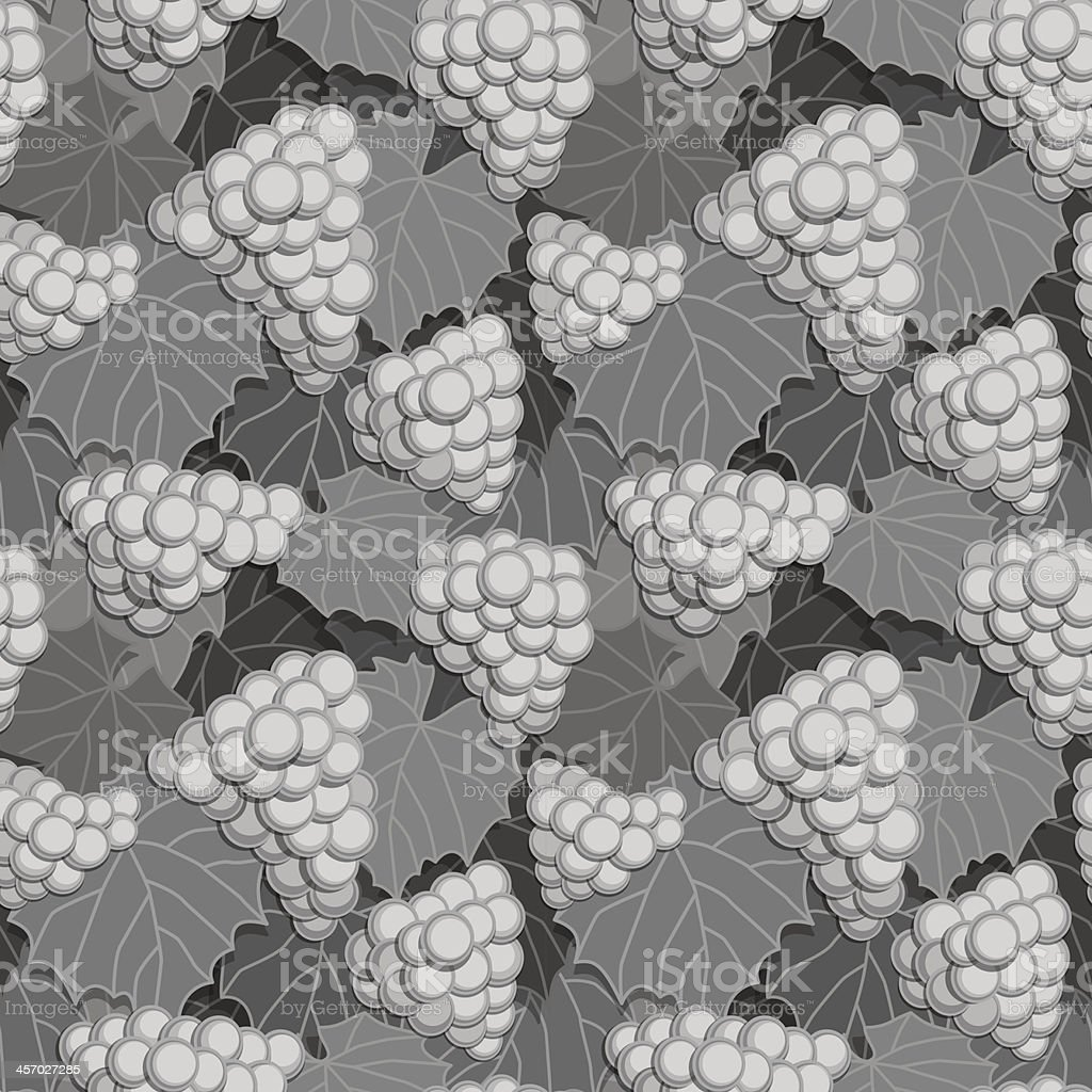Grapes and Leaves Grayscale royalty-free stock vector art