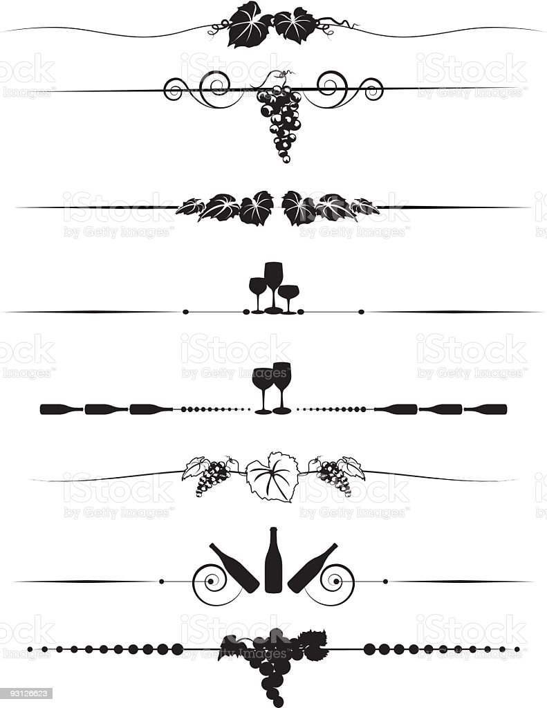 Free Line Art Converter : Grapes and wine divider menuelement design set in black