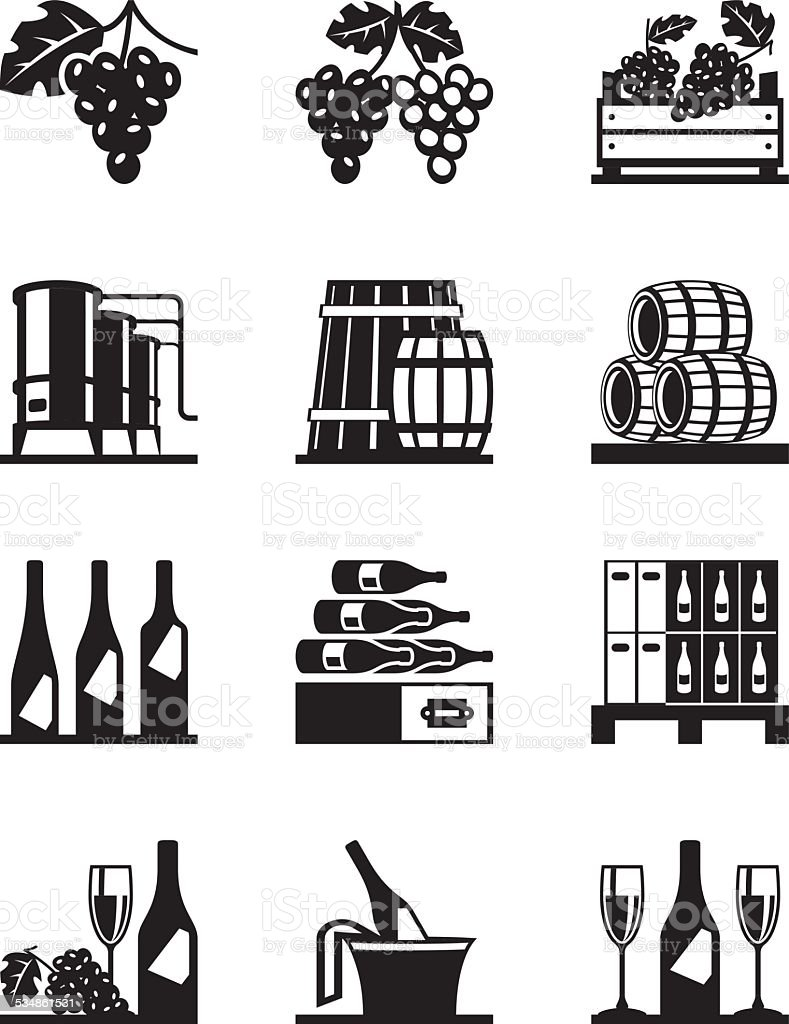Grapes and wine icon set vector art illustration