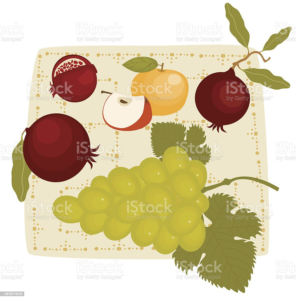 Grapes, Apples, Pomegranates, Still Life royalty-free stock vector art