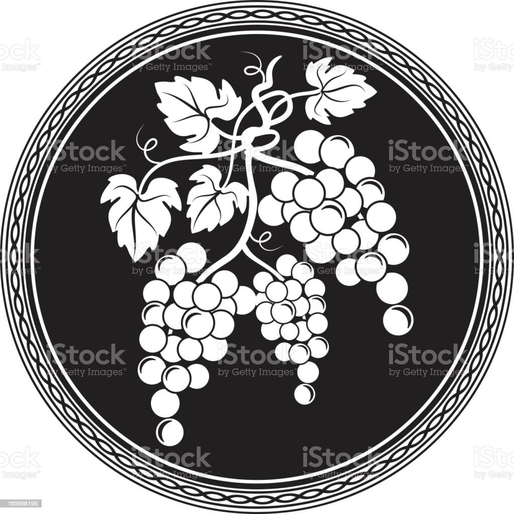 Grapes Design Element White silhouette on Black icon Button royalty-free stock vector art
