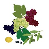 Grapes, olives and lemon