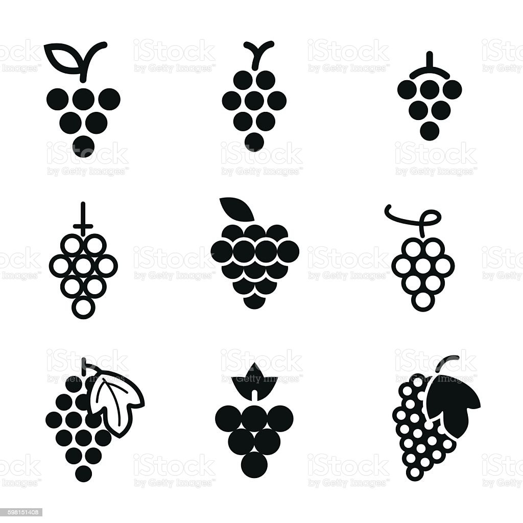 Grapes vector icons. vector art illustration