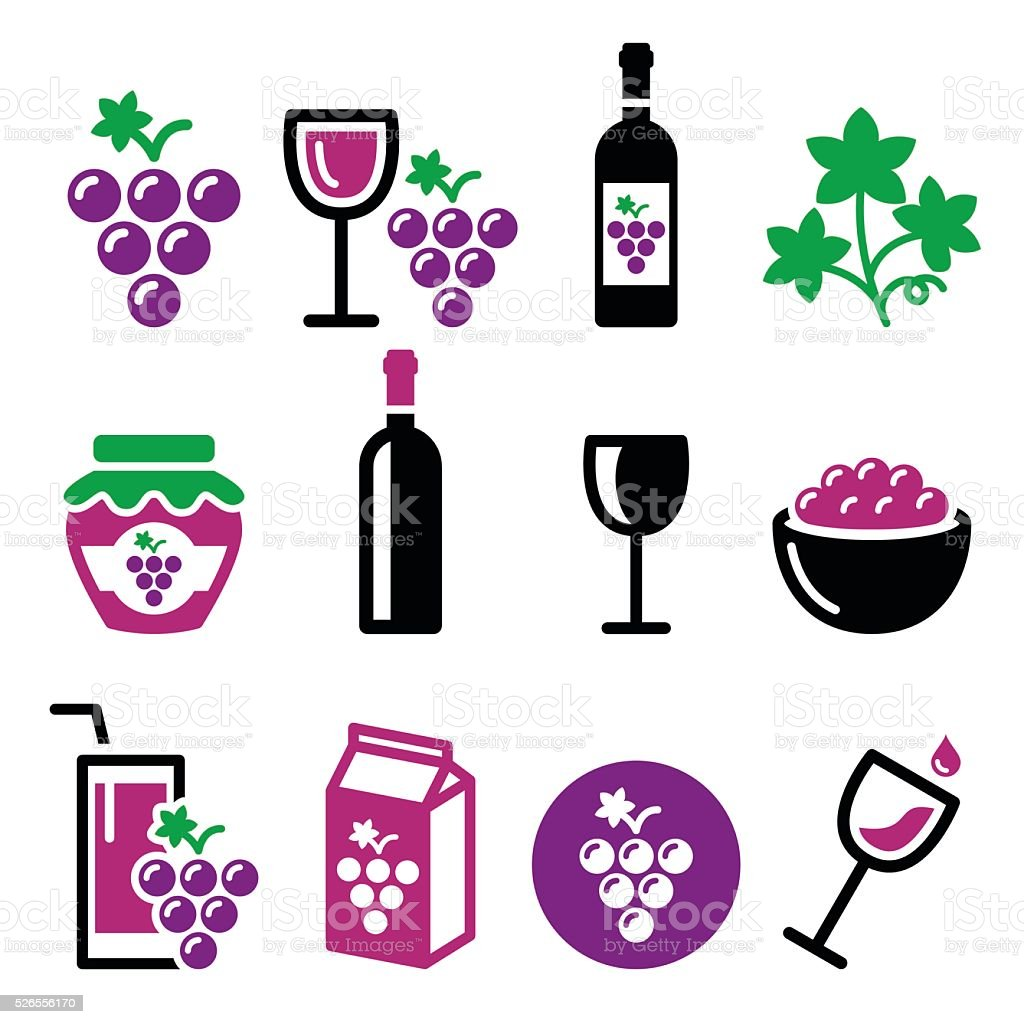 Grapes, wine - food and beverages icons set vector art illustration