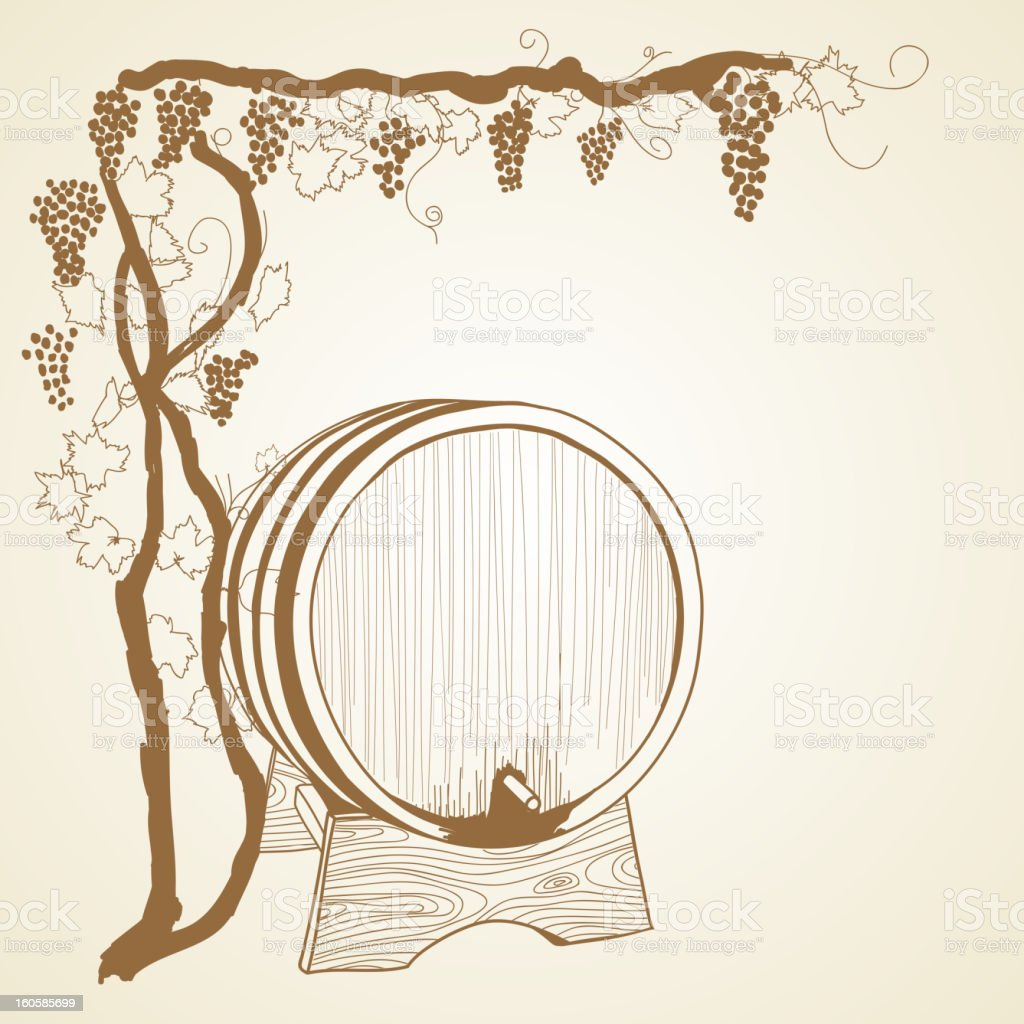 grapevine and wine barrel royalty-free stock vector art