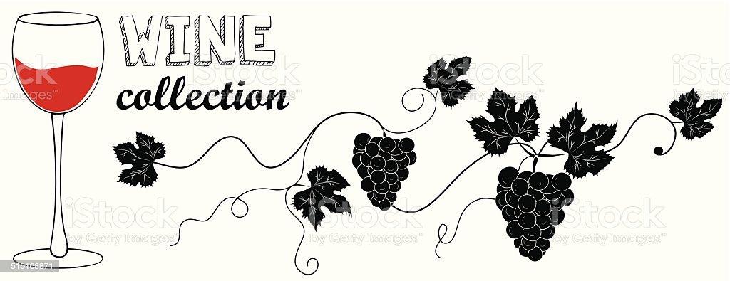 Grapevine. Vector wine design elements. vector art illustration