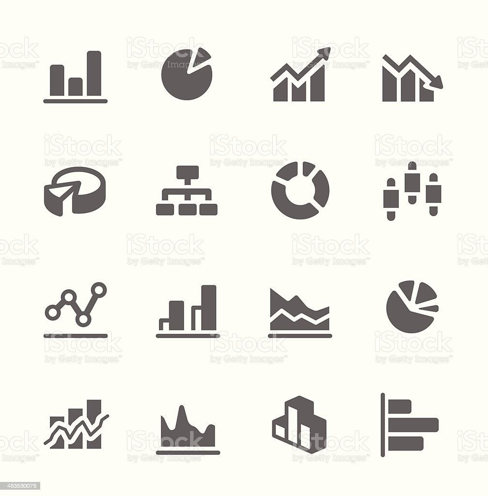 Graph and diagram icon set. vector art illustration