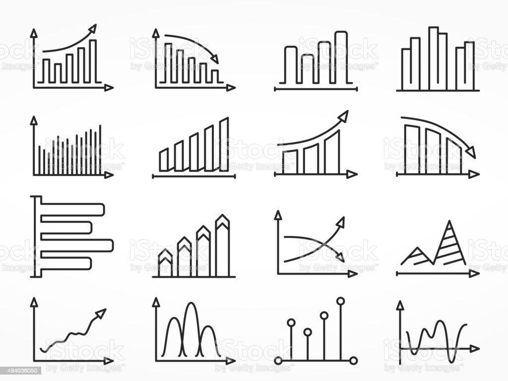 Graph Line Icons Set vector art illustration