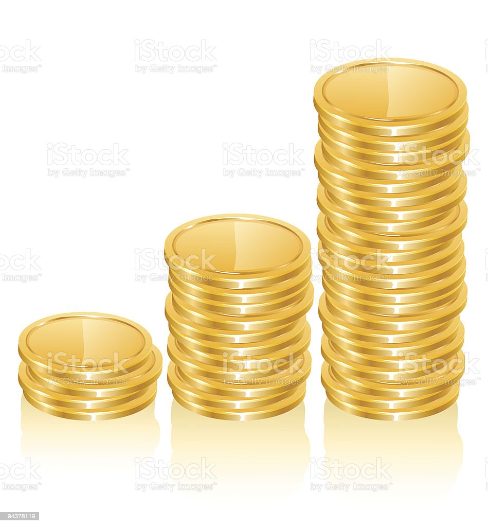 graph of gold coins royalty-free stock vector art