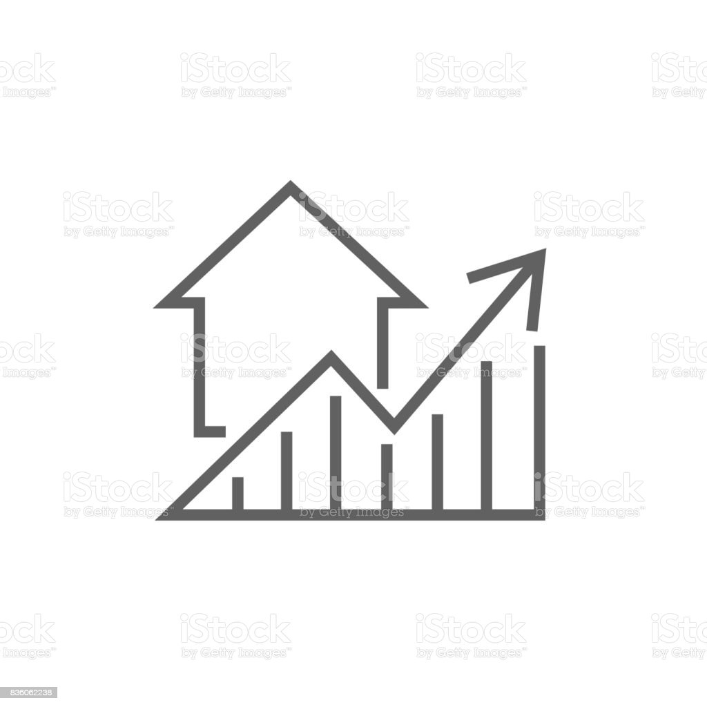 Graph of real estate prices growth line icon vector art illustration