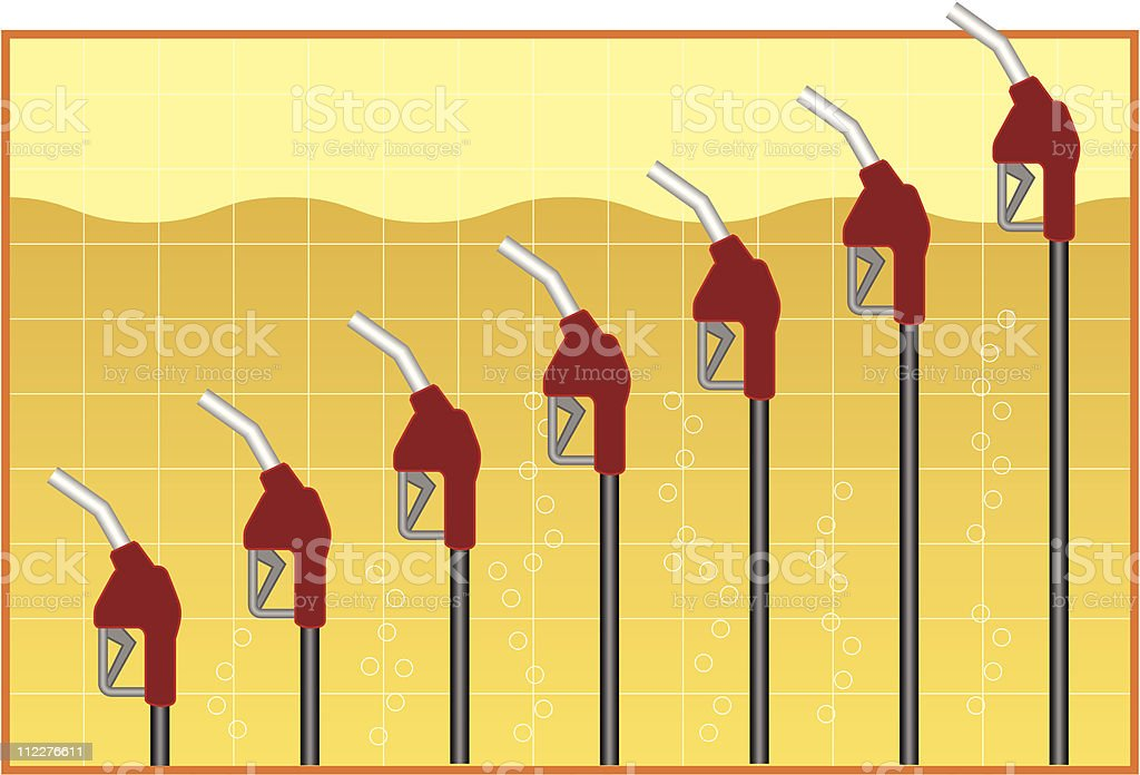 Graph of Rising Gas Prices royalty-free stock vector art