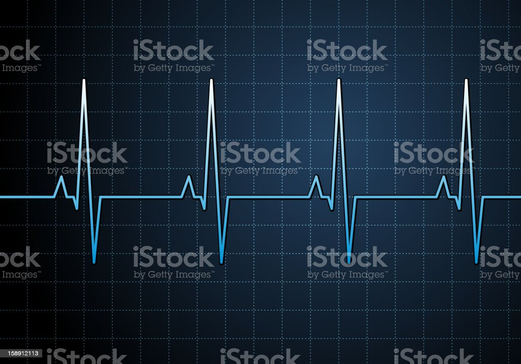 A graph of someone's pulse on a blue background royalty-free stock vector art