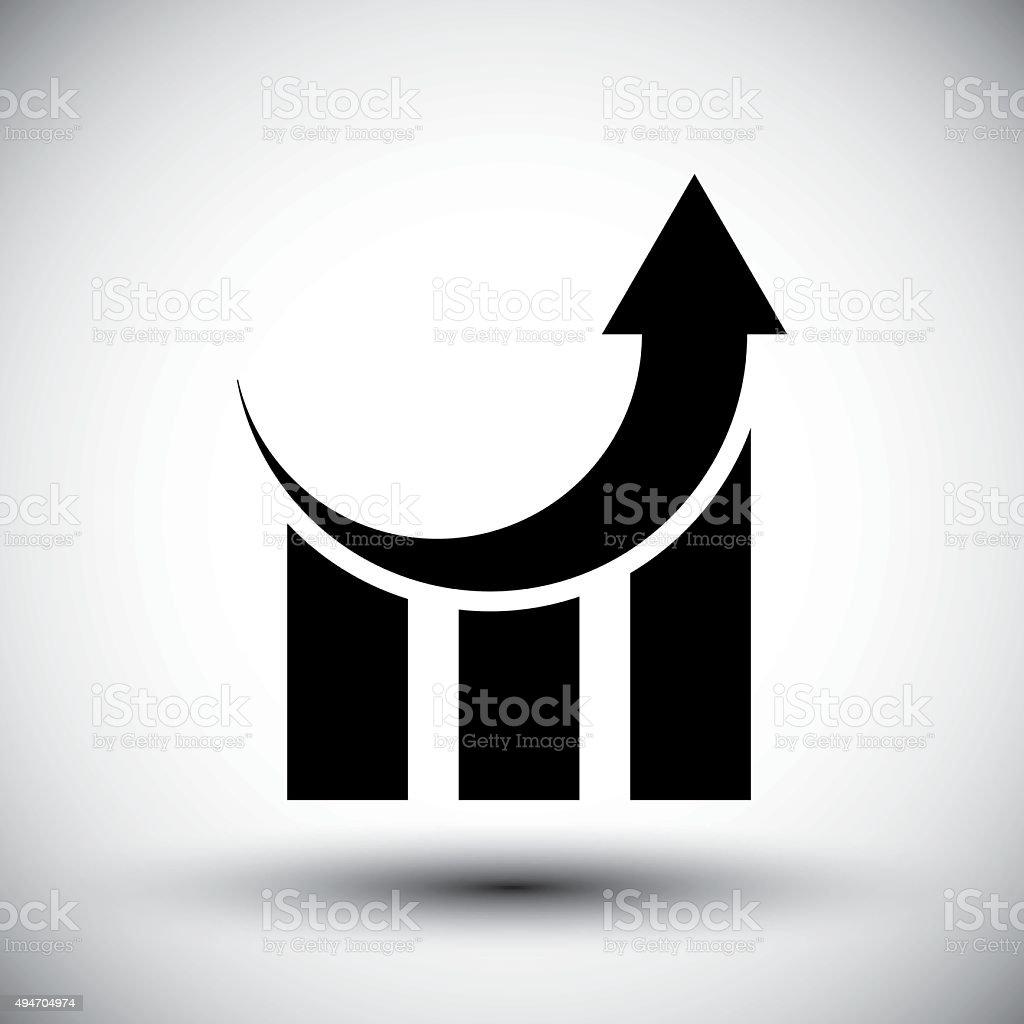 Graph trend rising up, vector symbol. vector art illustration