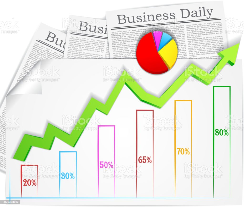 Graph with Business Newspaper royalty-free stock vector art
